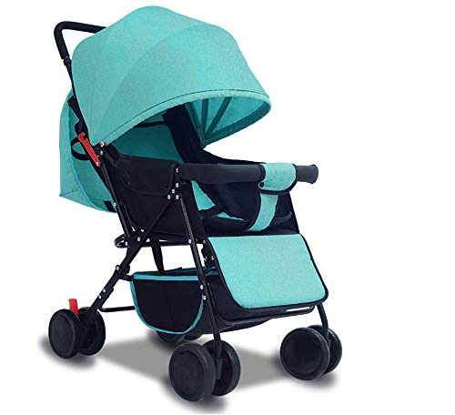 Lightweight Stroller Can Sit Reclining Portable 175 Degree Folding Umbrella Trolley Baby Car Fabric Removable Washable,Green