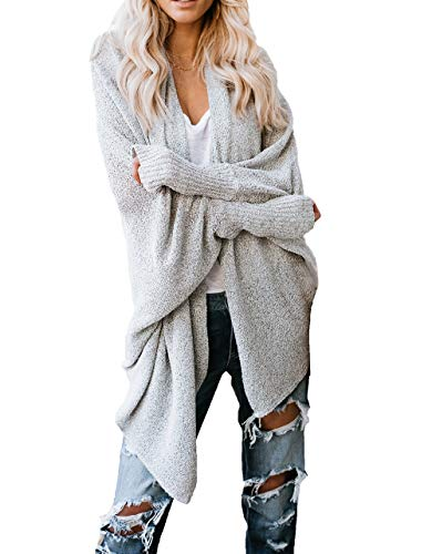 HZSONNE Women's Shawl Collar Hollow Out Mesh Batwing Sleeve Lightweight Thin Knitted Slouchy Blouse Cardigan Summer Spring (Silver, - 3/4 Sleeve Collar Shawl