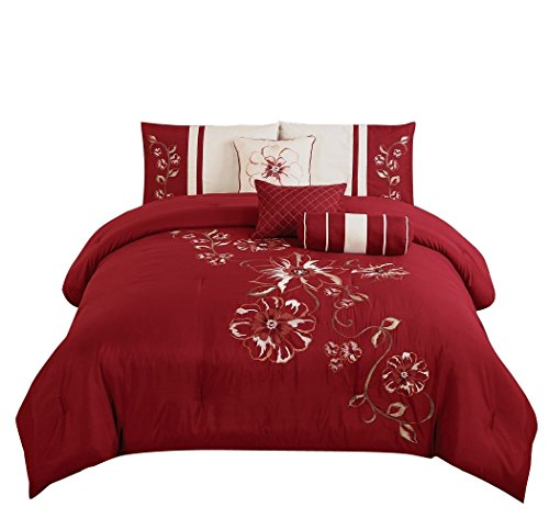 Chezmoi Collection 7-Piece Red Floral Hibiscus Embroidery Beige Comforter Bedding Set (Full) (Comforter Cream Red And)