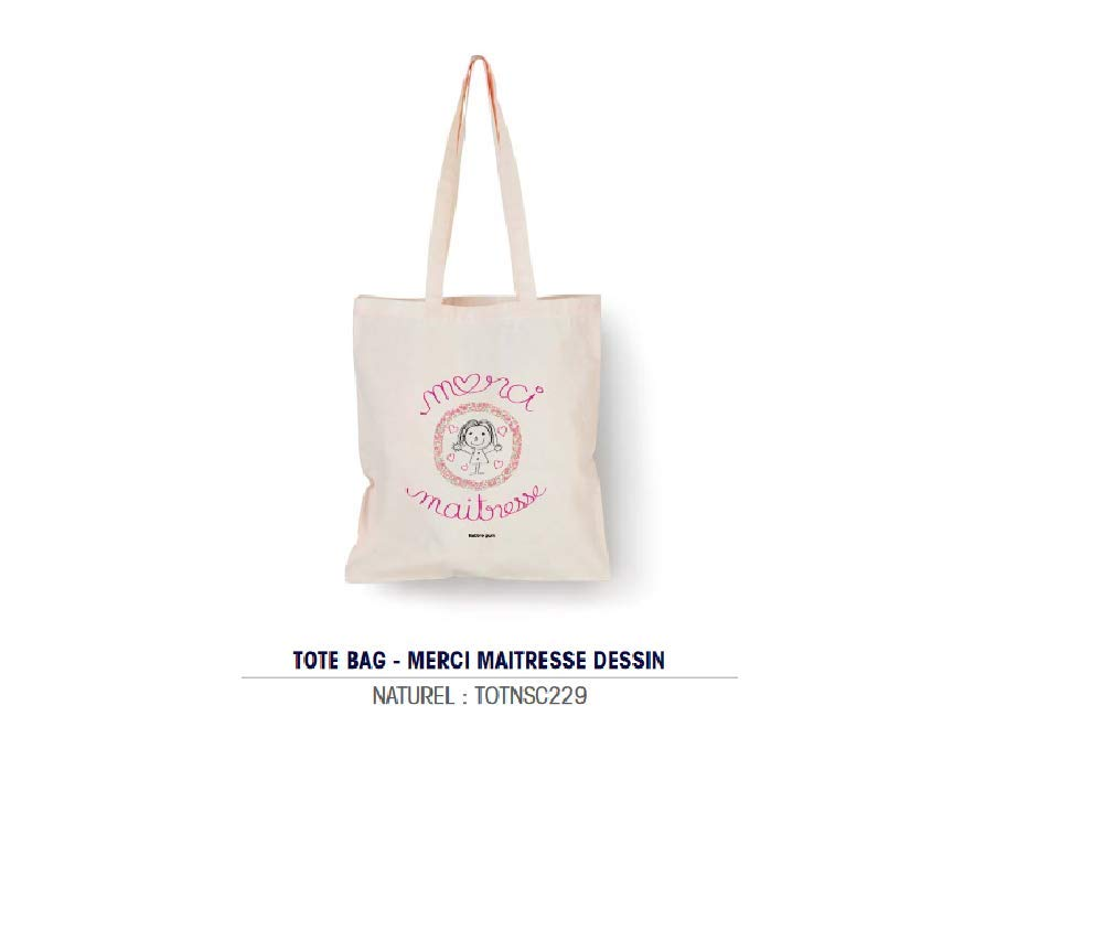Bubble Gum - Tote Bag Naturel Merci Maîtresse Dibujos - 100 ...