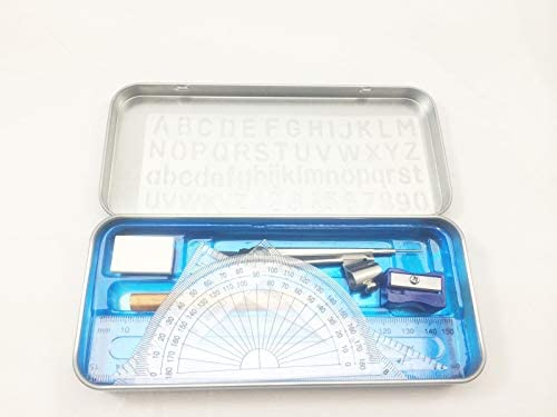 Ruler Square etc Maths Compass Set 9 Piece in Metal Pencil Case Tin