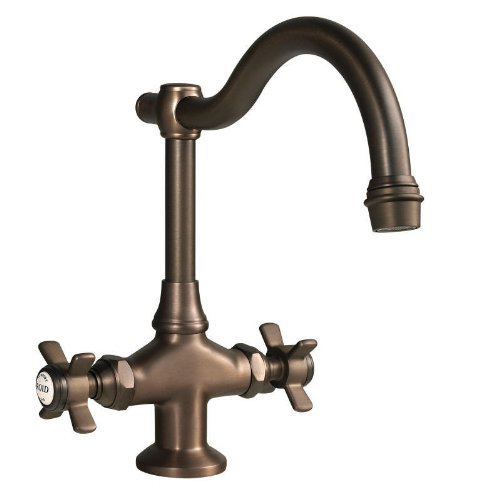 Newport Brass 1008/24A Fairfield Double Handle WaterSense Certified Bar Faucet with Metal Cross Handles, French Gold