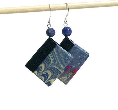 Blue Mini Book Earrings for Readers