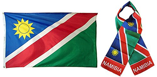 (ALBATROS Set Namibia Namibian Country 3 ft x 5 ft 3x5 Flag and 8ftx60ft Scarf for Home and Parades, Official Party, All Weather Indoors Outdoors)