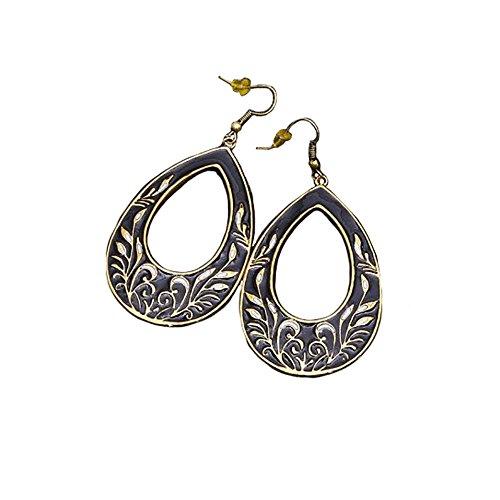 Women Fashion Bohemian Goldtone Teardrop Earrings French Hook Sun and Moon Enamel Boho Dangle Jewelry Set (Enamel (Enamel French Hook Earrings)
