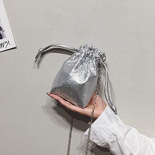 Sac Portable argenté Chaîne WSLMHH Sac téléphone en de bandoulière fée été Miel Paquet personnalité Métal épaule Petit Efqq0