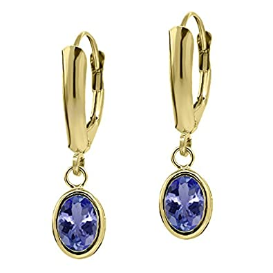 1.50 Ct Oval Natural Blue Tanzanite Gemstone Birthstone 14K Yellow Gold Jewelry Women's Earrings