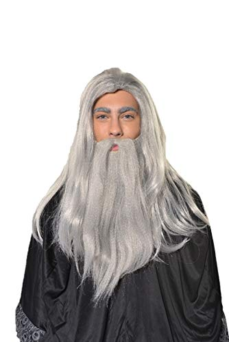 HalloweenAroundCorner.com Wizard Old Man Wig with Beard Warlock Merlin Dumbledore Gandalf Style H0554 Grey -