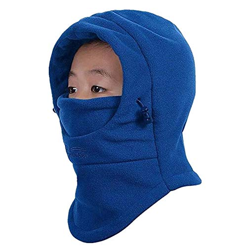 HZTG Childrens Winter Windproof Cap Thick Warm Face Cover Adjustable Ski Hat (Blue)