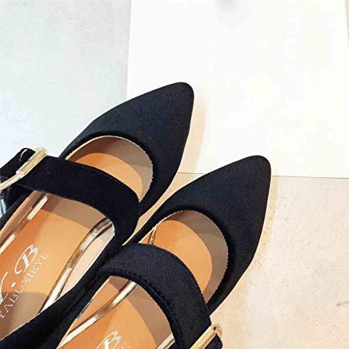 Sunnywill Boucle Noir Avec À Bout Chaussures Rétro La Pointu ModeSimples uTlKFc351J