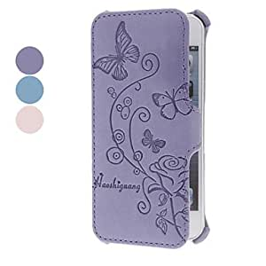Butterflies Embossed Clamshell Design PU Full Body Case for iPhone 5/5S (Assorted Colors) --- COLOR:Blue