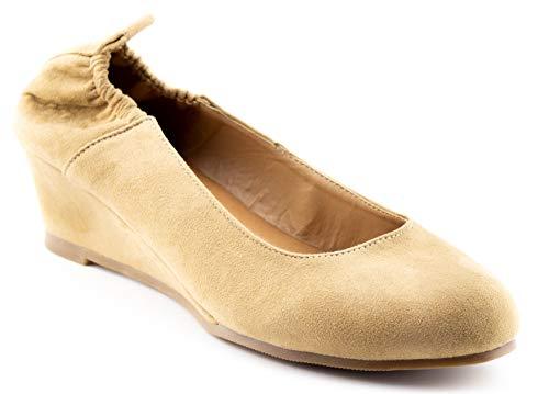 CALICO KIKI NORMA-CK01 Women's Ballet Wedge Heel Pump Slip On Comfort (9 US Beige SU) by CALICO KIKI