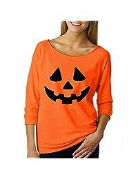 Halloween Women Sweatshirt, Malltop Pumpkin Print Off Shoulder Long Sleeve Pullover