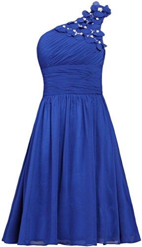 Flowers Royal Kurz Brautjungfer Damen Fanciest Brautkleider Eine Blue Schulter Kleider Party Gowns qpnvpOtHx