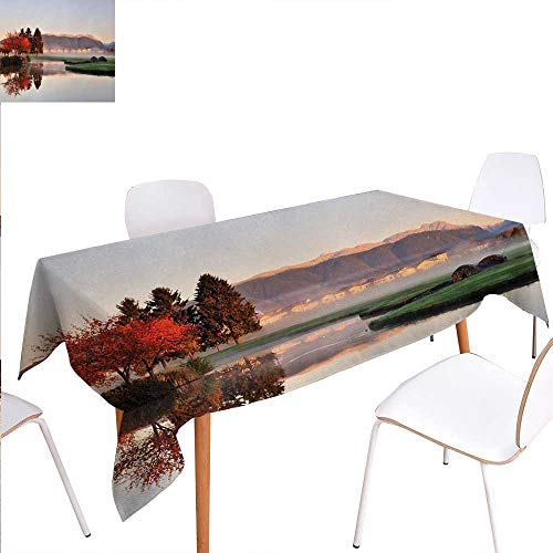 ner Picnic Table ClothVibrant Maple and Pine Trees Reflection Stone Bridge Over Creek Fog Houses and Hills Waterproof Table Cover for Kitchen 50