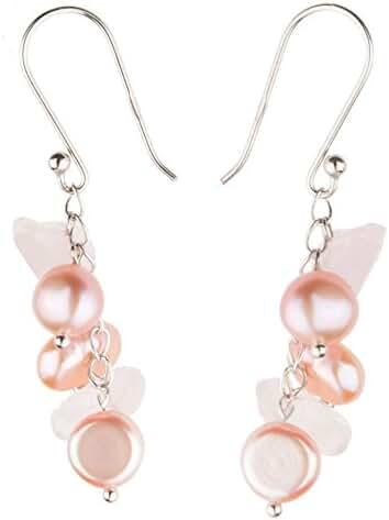 HinsonGayle Freshwater Cultured Pearl & Gemstone Dangle Earrings Sterling Silver 10 Colors