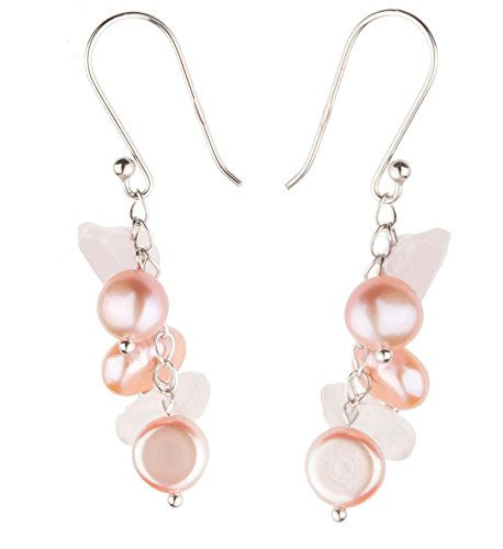 Pearl Rope Earrings (HinsonGayle Handpicked Freshwater Cultured Pearl & Rose Quartz Dangle Earrings Sterling Silver)