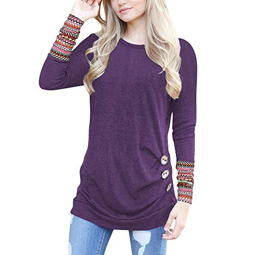 - Hosamtel Fashion Womens T-Shirt Long Sleeve Patchwork Button Tie Pullover Ladies Casual Tops Sweatshirt Blouse Top Dark Purple