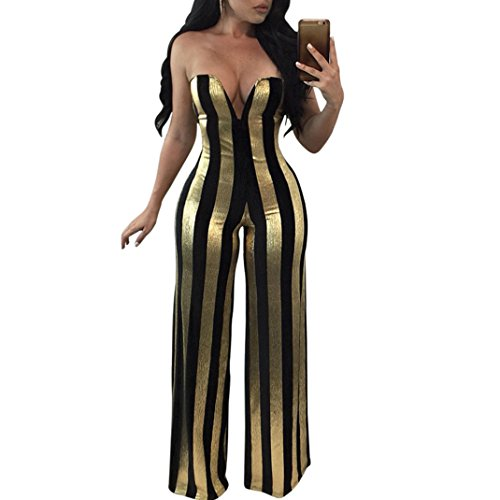 Metallic Stripe Pants - Blingdeals Womens Sexy Strapless Metallic Stripe Wide Leg Jumpsuit Romper Pants Club Style Gold US L(Tag XL)