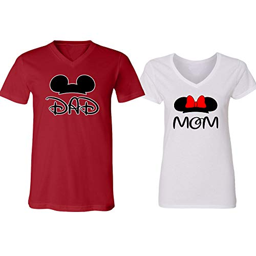 GOOD SHOPPERS ACTIVEWEAR Mickey Dad Minnie Mouse Mom Family Couple Design V-Neck Shirt for Men Women(red-White,Men-XL/Women-M)