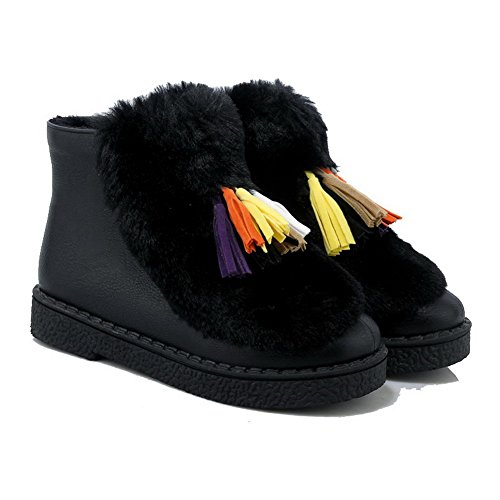 Closed top Black Low Women's Round Low Heels Boots Solid Allhqfashion PU Toe wSqxBA