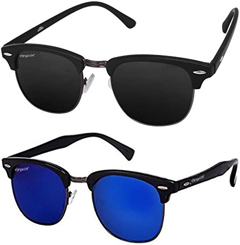ed52aab9ab Elegante Combo of UV Protected Blue Mirrored   Black Clubmaster Sunglasses  Goggle for Men and Boys  Amazon.in  Clothing   Accessories