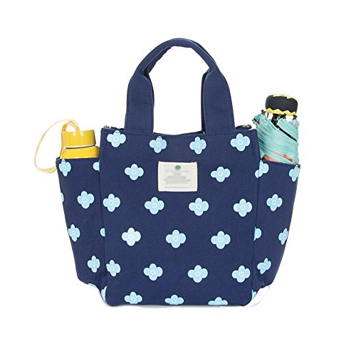 Lunch Bag Box Tote Handbag with Water Bottle Holder for Women Mom Snack Bag(Flower  Print) cc4cdd32a04e1