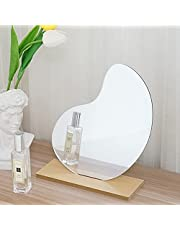 Irregular Mirror with Wooden Base Acrylic Makeup Mirror for Desk Makeup Mirror Special Table Mirror for Bedroom Living Room