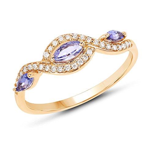 Ctw Diamond Tanzanite Gold Jewelry - 14K Yellow Gold Tanzanite & White Diamond Ring (0.40 ctw, I-J Color, I2-I3 Clarity) from Johareez