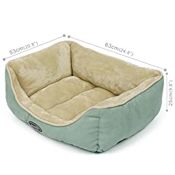 Pecute Deluxe Pet Bed for Cats and Small Dogs Rectangle Cuddler Ultra-Soft Plush Solid Pet Sleeper Machine Washable Green and Beige (Medium (20.8\
