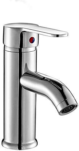 Gulakey バスルームのシンクは、スロット付き浴室の洗面台のシンクホットコールドタップミキサー流域の真鍮シンクミキサータップ流域の蛇口温水と冷水ステンレス銅コア単穴手洗い洗面台をタップ