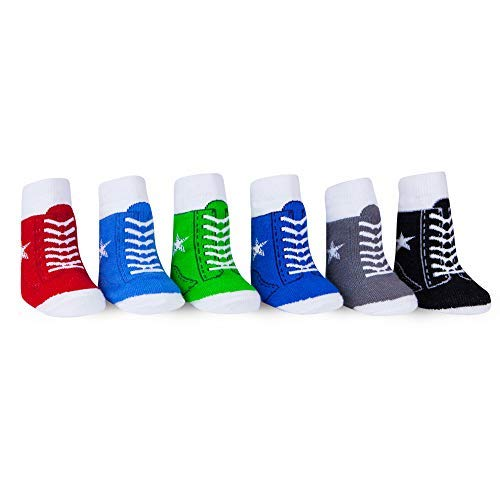 WADDLE Boys Sport Socks All Star Hi-Top Sneakers Tennis Gym Shoes 6 Pairs Newborn 0-12 Months | Favorite Baby Shoe Socks Cute Cotton Stretch Gripper Kicks Gift Set for Baby Shower Registry