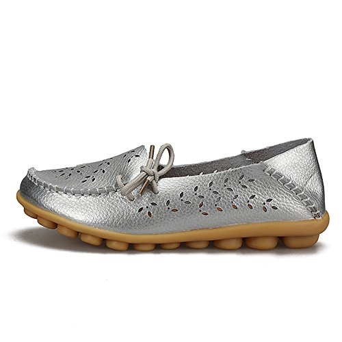Loafers Slip Casual Leather H On silver Flats YIRUIYA Women Shoes gxBqwx5