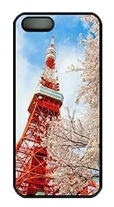 Tokyo Tower Sakuraelieechyan Hard Shell Black Side Cover Skin for Iphone 5 5S wangjiang maoyi