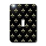 3dRose LLC lsp_20539_1 Gold Fleur De Lis on a Black Background Christian Saints Symbol - Single Toggle Switch