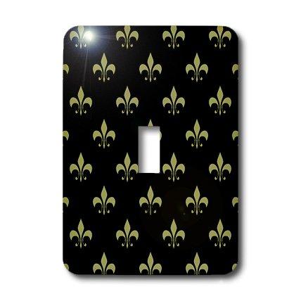 3dRose LLC lsp_20539_1 Gold Fleur De Lis on a Black Background Christian Saints Symbol - Single Toggle Switch by 3dRose
