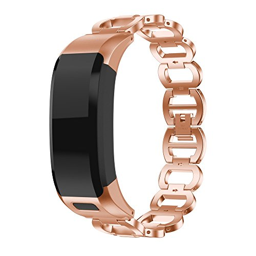 Compatible with Garmin VIVOsmart HR Bands,TOTGO Luxury Clasp Stainless Steel Replacement Sport Breathable Bracelet Wrist Band Accessory Smart Watch Strap Bands for Women Men (Rose Gold)