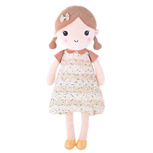 Gloveleya Spring Girl Wear Brown Floral Dress Baby Stuffed Cloth Dolls Kids Plush Toys 16.5''