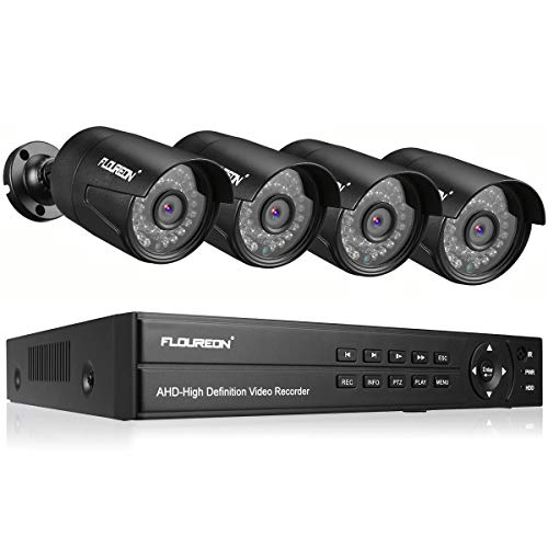 FLOUREON 8CH 5-IN-1 Security Camera System 1080N AHD Video DVR Recorder with 4X HD 3000TVL 2.0MP CMOS Lens 1080P Indoor Outdoor Weatherproof CCTV Cameras, Night Vision, Easy Remote Access,Motion Alert
