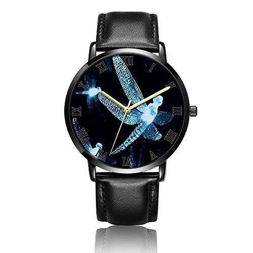 - Customized Dragonfly Wrist Watch, Black Leather Watch Band Black Dial Plate Fashionable Wrist Watch for Women or Men