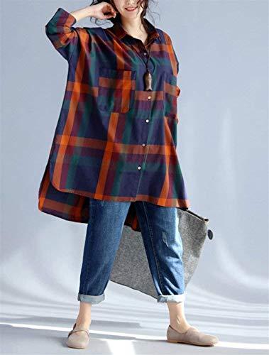 Alto Autunno Lunga Asimmetrica Camicia Irregular Basso Donna Manica Fashion Rote Bavero Single Sciolto Primaverile Orange Ragazza Eleganti Lunga Camicia Blusa Tops Reticolo Breasted Vintage Casuali Chic PRwHOFRq