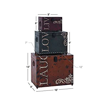"Deco 79 53854 Metal Trunks (Set of 3), 16""/12""/9"""