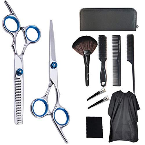 Professional Hair Cutting Scissors Set, 11 Pcs Haircut Scissors Kit with Cutting Scissors, Thinning Shear, Comb, Cape…
