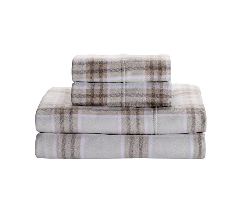 Living Quarters Windowpane Print Cold Weather Fleece Ultra Warm Sheet Set Queen Sheet Set