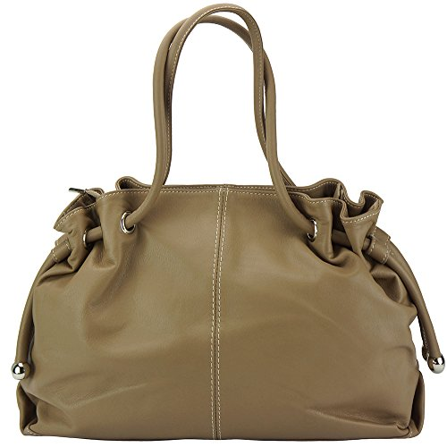 In Bag Made Italy Elisabetta Leather Taupe Dark Shoulder skin 3001 Calf tpXZxYqY