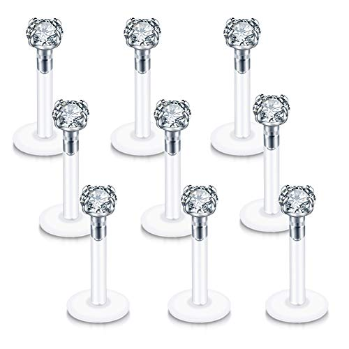 - pircn 9PCS 16G Clear 3mm CZ Gem Labret Monroe Lip Ring Tragus Helix Cartilage Earring Stud Piercing Jewelry