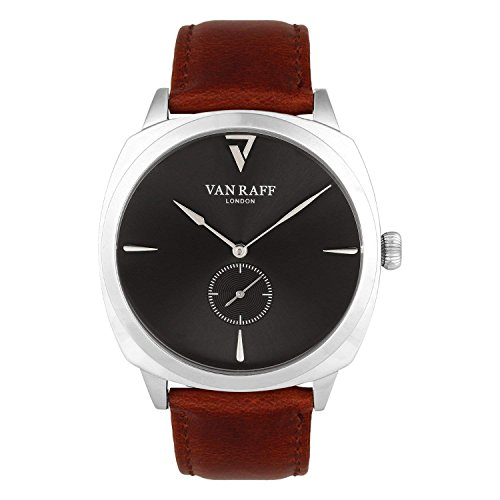 Van Raff Genuine Leather Brown Strap Black dial Analog Watch for men-VF1973