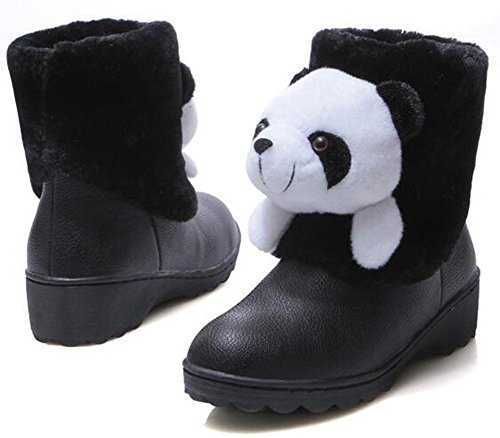 IDIFU Womens Warm Panda Faux Fur Lined Mid Wedge Heels Pull On Ankle High Snow Boots Black bdLLYw