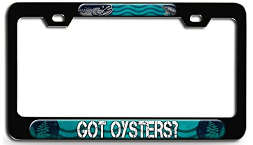 - GOT OYSTERS Fish Fishing Black Steel License Plate Frame, License Tag Holder 3D Style