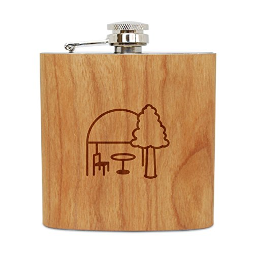 Canopy Wooden Garden (WOODEN ACCESSORIES COMPANY Cherry Wood Flask With Stainless Steel Body - Laser Engraved Flask With Garden Canopy Design - 6 Oz Wood Hip Flask Handmade In USA)